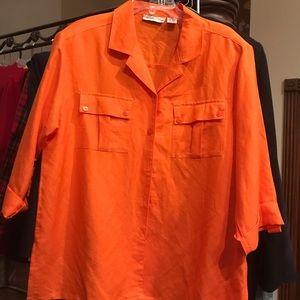 Marla Kim XL Bright Vibrant Orange Shirt